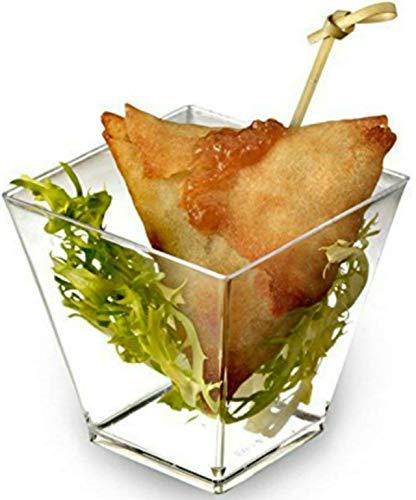 Zappy Square 6.8 oz Soup Cup Parfait Dessert Cups Dishes Shot Glasses Trifle Bowl Clear Disposable Plastic Souffle Mousse Cups Ice Cream Fruit Party Appetizer Cube Bowls 40 Dessert Glassess (40 Ct)