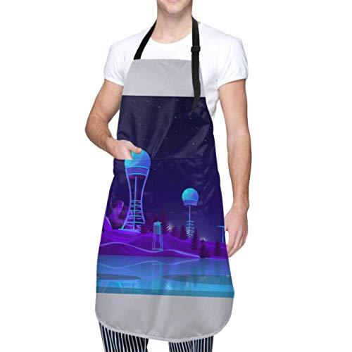 Delantal unisex, impermeable Durable Ajustable Generación de energía renovable Concepto de dibujos animados Vector Delantales de cocina Delantal vintage para lavar platos Barbacoa Parrilla Restaurant