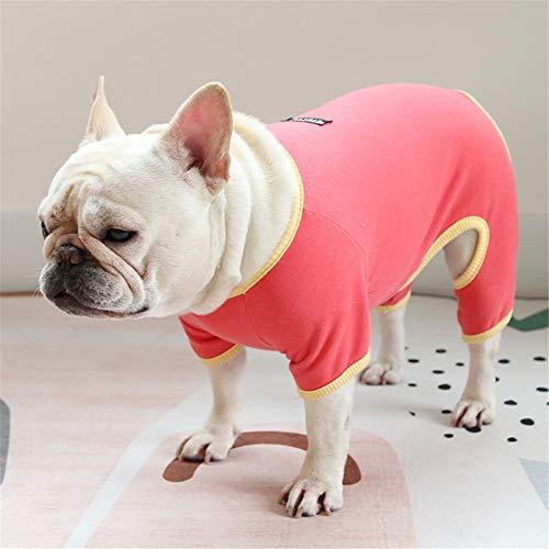 Hdwk&Hped Small Medium Dog Shirt Soft Cotton Pet Pajamas Jumpsuit Style for Fat Dog French Bulldog Corgi Dark Orange #4