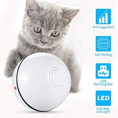 Hospaop Katzenspielzeug Ball, Haustier Übungsbälle, Katzenspielzeug Elektrische Rotierende Katze Ball, Elektrisch Katzenball mit LED Licht USB Aufladung, Interaktives Spielzeug für Kätzchen Welpen