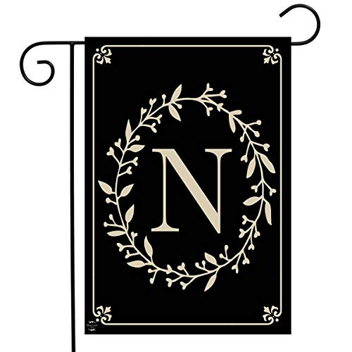 "Briarwood Lane Classic Monogram Letter N Garden Flag Everyday 12.5"" x 18"" Indiana"