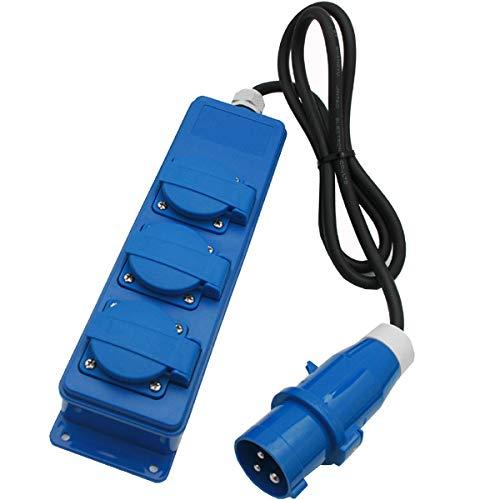 3er Steckdosenleiste Schuko 16A IP54 Wohnwagen Wohnmobil Caravan Boot usw.230V-250V mit Kabel und CEE Stecker blau