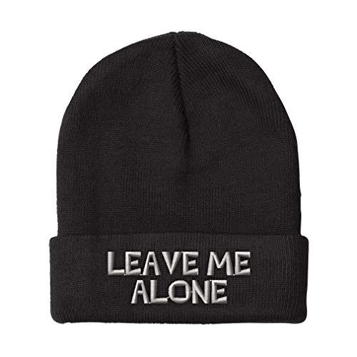 Custom Beanie for Men & Women Leave Me Alone Embroidery Acrylic Skull Cap Hat Black Design Only