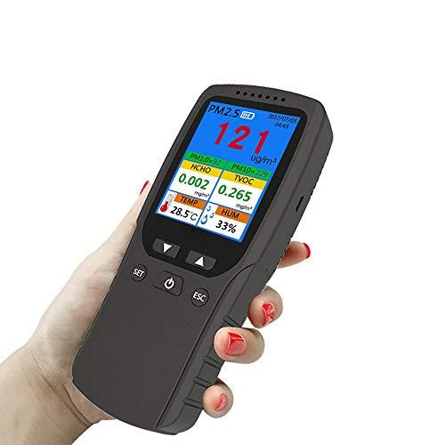 JUZEN Multifunktions-Luftqualitätsdetektor, Luftqualitätsmessgerät für PM2.5 & HCHO & TVOC & AQI & PM1.0 & PM10 & Temp & HUM schwarz