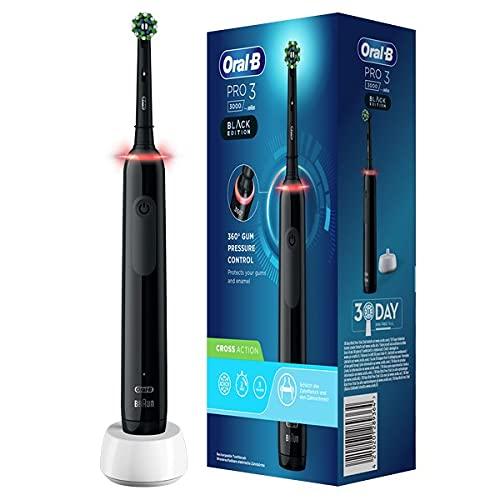 Oral-B PRO 3000 Brosse à Dents Électrique Rechargeable avec 1 Manche Capteur de Pression et 1 Brossette CrossAction, Technologie 3D, Noir, Élimine jusqu'à 100 % de plaque dentaire