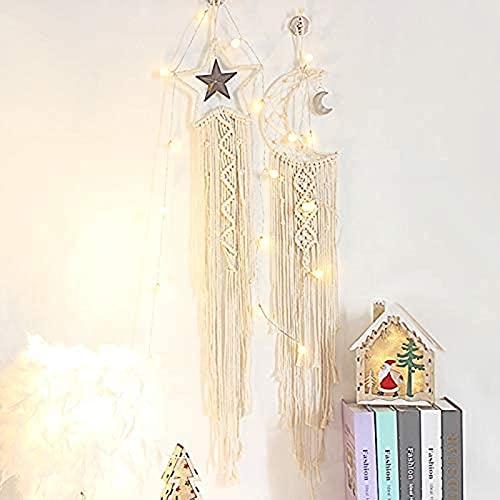 Wdszb Moon Star Dream Catcher Hecho a Mano de macramé de algodón Tejido con luz LED móvil para Colgar en la Pared, Adorno Bohemio para Bodas, Sala de Estar, Dormitorio