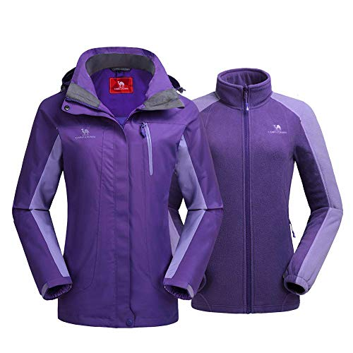 CAMEL CROWN Damen Outdoor 3-in-1 Skijacke mit Fleece Jacke, Wasserdicht Winddicht Warm Atmungsaktiv Winterjacke mit Kapuze Abnehmbare und Taschen, Doppeljacke,Lila,L