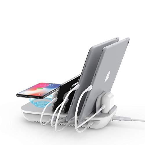 SooPii Estación de Carga de 5 Puertos de 60W con Plataforma de Carga Inalámbrica de 10W Un Puerto PD de 18W para iPad Pro, Phone XS/MAX/XR/X y 4 Puertos USB para Todos los Teléfonos y Tabletas