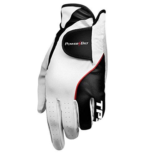 Powerbilt TPS Cabretta Tour Golf Glove - Mens RH Medium Large, White(Medium/Large, Worn on Right Hand)