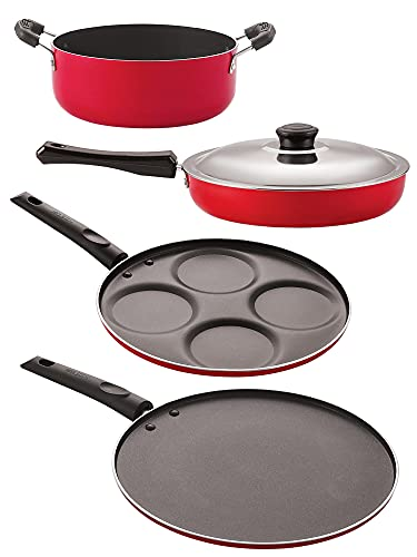 Nirlon Kitchenware Pots and Pan 3 Layer Superior Coating Combo Set of 4 Pieces Premium Quality (FP12_UP4_ST11_CS24)