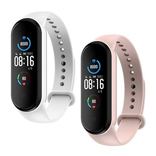 WD&CD Armband kompatibel mit Xiaomi Mi Band 5 Weiches Silikon (2 Stück, Weiß + Pink), Verstellbare Fitness Armband für Frauen männer