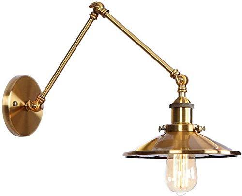 Lámpara de pared industrial retro, brazo largo giratorio, lámpara de pared de ángulo ajustable, lámpara de noche de metal, lámpara frontal de espejo, utilizada en sala de estar, ático, estudio, cafet