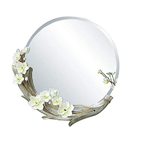 YELLAYBY Nordic Mirror Round Resin Bathroom Wall/Bedroom Home Porch Makeup Hanging Size 56 56cm Makeup Mirror