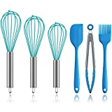 Silicone Whisk Set, Ouddy 2 Pack Wire Whisk Kitchen Wisks for Cooking for Blending, Whisking, Beating, Stirring