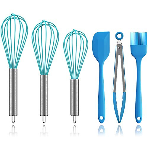 Silicone Whisk Set, Ouddy 6 Pack Wire Whisk Kitchen Wisks for Cooking with Silicone Spatula, Basting Brush, Silicone Tongs for Blending, Whisking, Beating, Stirring