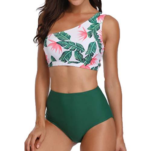 YOUCAI Bikini Monospalla Banda Due Pezzi Costumi da Bagno Costume Mare da Donna Swimsuit Fiore di Stampa M