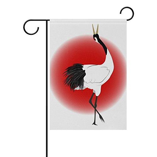 Deyya japonais Grue Bird Garden Drapeau couchage double Impression décoratifs Drapeau de maison de vacances, 30,5 x 45,7 cm, Polyester, multicolore, 28x40(in)