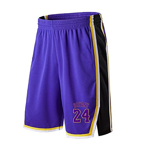 JZEL Bryant # 24 Pantalones Cortos de Baloncesto, Pantalones de Baloncesto Sueltos entrenando Pantalones sobre los Pantalones de la Bola de la Rodilla Pantalones de Cinco Blue-XL