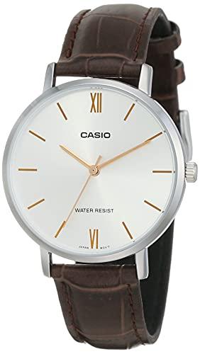CASIO LTP-VT01L-7B2UDF - Reloj analógico de Cuarzo para Mujer. Correa de Piel marrón