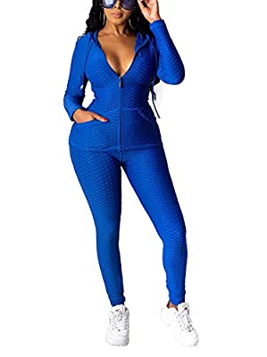 Women Sweatshirt and Pants Set Long Sleeve Drawstring Zip Up Hoodie Jacket Bodycon Long Pants 2 Piece Jumpsuit Activewear Yoga Jogging Workout Gymwear Sport Joggers Tracksuit Outfits Blue, Large