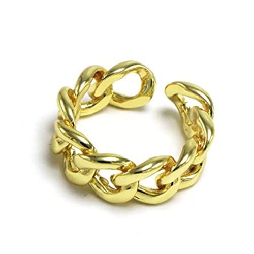 Yixikejiyouxian Ring, 925 Sterling Silber Kettenringe Für Frauen Paare Vintage Handgemachte Verdrehte Geometrische Fingerschmuck Partygeschenke - Gold 19X8Mm