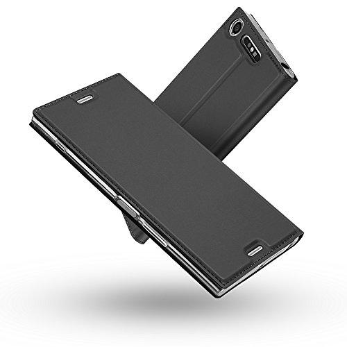 Radoo Sony Xperia XZ1 Compact Hülle, Premium PU Leder Handyhülle Brieftasche-Stil Magnetisch Klapphülle Etui Brieftasche Hülle Schutzhülle Tasche für Sony Xperia XZ1 Compact (Schwarz grau)