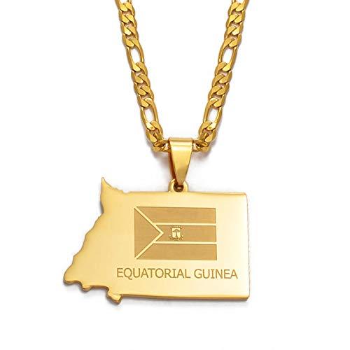 nice cheng Collar de mapa de Guinea Ecuatorial Joyería de color dorado Guinea Ecuatorial Collares colgantes de joyería mapas # 003321