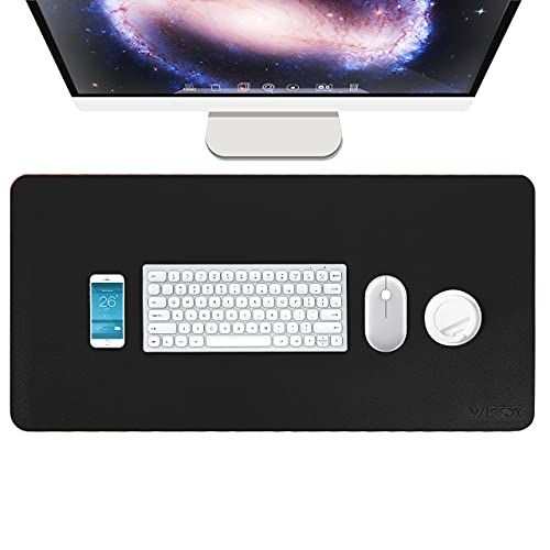 Gaming Mauspad, WisFox XXL PC Computertastatur Mousepad, 800 x 400 x 1.8 mm, rutschfeste PU Schreibtisch Unterlegmatte mit Wasserdichter Oberfläche für Heim Büro, Schwarz