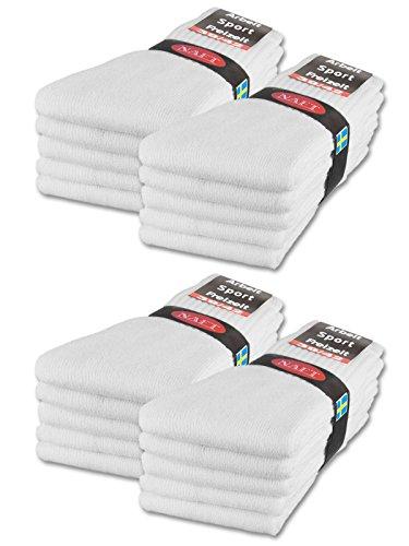 sockenkauf24 10 | 20 | 30 Paar Sportsocken Tennissocken Arbeitssocken Herren & Damen Socken Baumwolle (39-42, 20 Paar | Weiß)