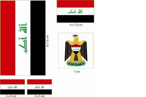 U24 Aufkleberbogen Irak Aufkleber Set Flagge Fahne