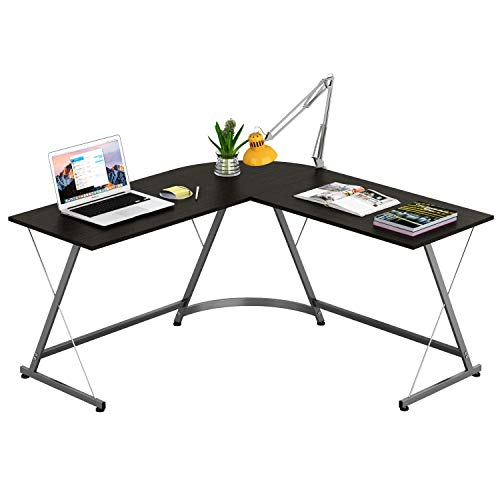 SHW LShape Corner Desk Computer Gaming Desk Table Espresso