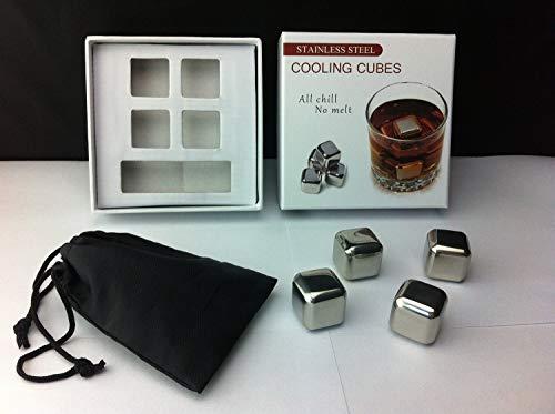 Rii Cubos enfriadores de acero inoxidable para el Whisky - Set de 4 piezas - Ideal para evitar que su bebida se...