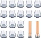 Protectores de piso para patas de silla, tapas de silicona para patas con almohadillas de fieltro para muebles, transparente evita arañazos y ruido sin dejar marcas [16 unidades, 30-35 mm)
