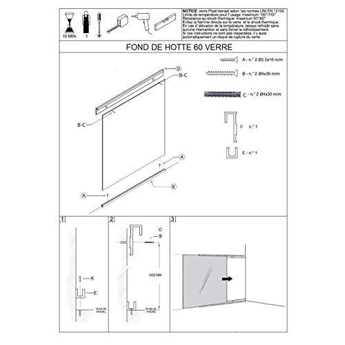 Credence - Accessoire Credence - Fond DE HOTTE Fond de hotte en Verre de 5mm d'epaisseur Style INOX - 60x70cm