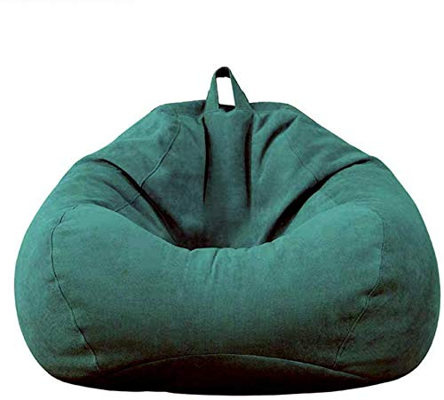 xcxc Sitzsackbezug mit Griff, Sitzsackbezüge aus kohlenstoffgebürstetem Stoff ohne Füllung bieten Aufbewahrungslösungen für Ihren Sitzsack, grün, 70 * 80 cm