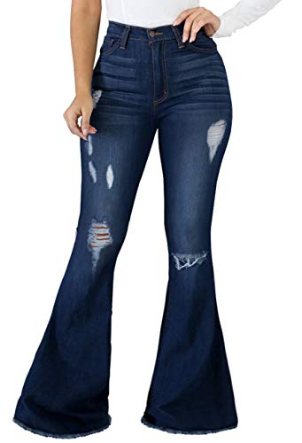 SeNight Women Bell Bottom Jeans Sexy Ripped Distressed Flare Jean Bell Bottom Pants