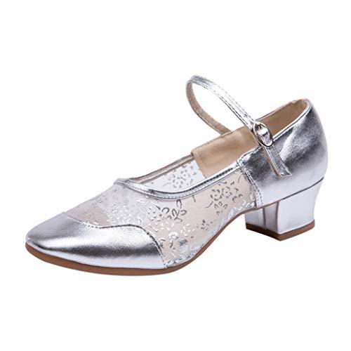 Deloito Damen Mode Freizeit Einzelne Schuhe Gaze Schnalle Strap Quadratische Fersen Rumba Walzer Prom Schuhe Ballsaal Latein Salsa Tanzschuhe (Silber,39 EU)
