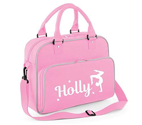 beyondsome Personalised Girls Gymnastics Bag Handstand Pink Uniform Gymnast Dance Case, Baby Pink & Grey Trim/White Print