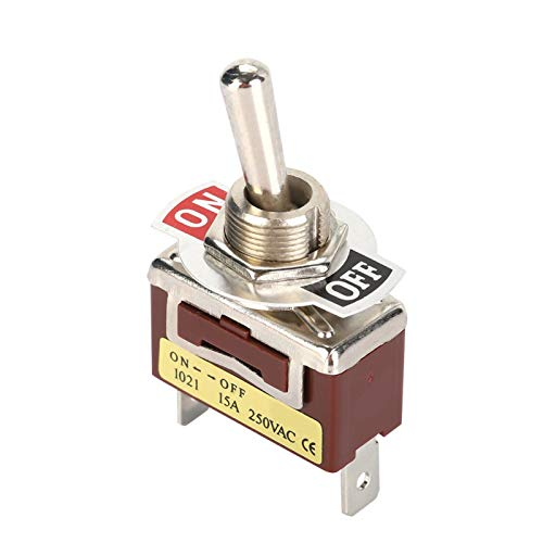 2 pines, 2 posiciones, 12 mm, orificio de montaje, mini interruptor de palanca, interruptor de perilla redonda de metal ajustable, interruptor de palanca 1021, 250 V, 15 A, encendido y
