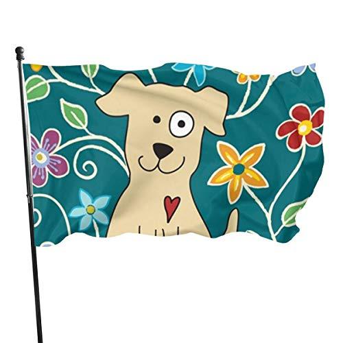 N/A Bandera de la Guardia Americana Bandera de Bienvenida Bonitas Mascotas Flor de Cachorro Resistente a la decoloración Patio Delantero para todas las Estaciones, Decoración de Pared Patio 3x5 pies