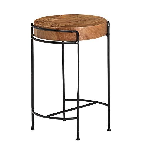 FineBuy Beistelltisch Akazie Massivholz 35x51x35 cm Wohnzimmertisch Rund   Kleiner Designer Tisch Massiv   Design Holztisch mit Metallbeinen