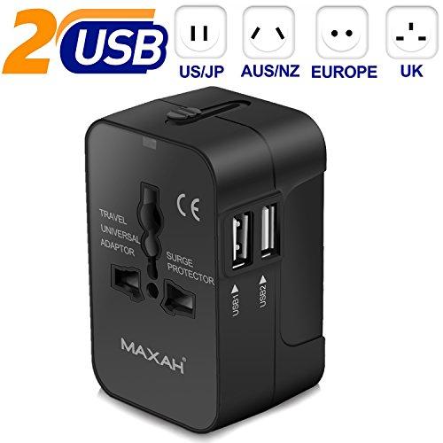 MAXAH Adattatore Universale Adattatore Universale da Viaggio Tutto in Uno Adattatore all-in-One Universal World Wide Travel Adapter con indicatori accensione e 2 USB 2.1 A Nero