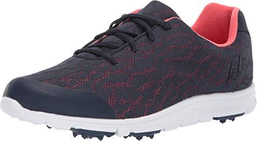 FootJoy Women's Enjoy Golf Shoes, Navy/Papaya, 5.5 M US