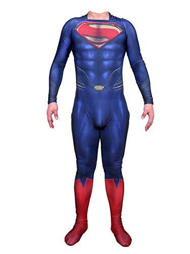 Nios Adultos The Man of Steel Movie Fans Apparel Mono de superhroe para disfraces, disfraz de anime de cosplay de Superman, juego de rol de Halloween, medias conjuntas, traje de batalla,A-Kids L