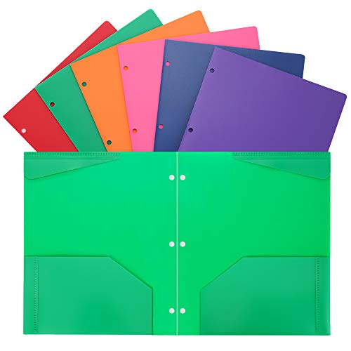 Folders Heavy Duty 2 Pocket Plastic Folders with 3 Hole Letter Size for School Work and Home Plastic-Folders-with-Pockets Assorted Colors