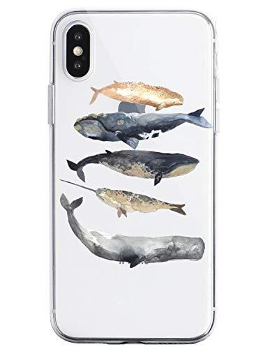 Oihxse Funda iPhone 6/iPhone 6S Transparente Silicona TPU Protector Flexibilidad Carcasa, Oceano Animal Diseño Case para iPhone 6/iPhone 6S Gel Cover Bumper-Cinco Peces