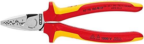 KNIPEX Alicate para crimpar punteras huecas aislado 1000V (180 mm) 97 78 180 T BK (cartulina autoservicio/blíster)