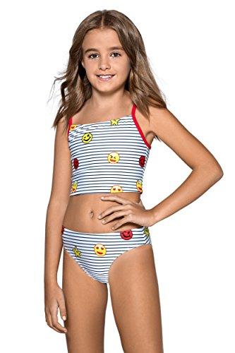 Kider/Mädchen Bikini, Tankini, Badeanzug, 7-13 Jahre, L89 Gr. 9-10 Jahre 146 cm, Emoji pattern
