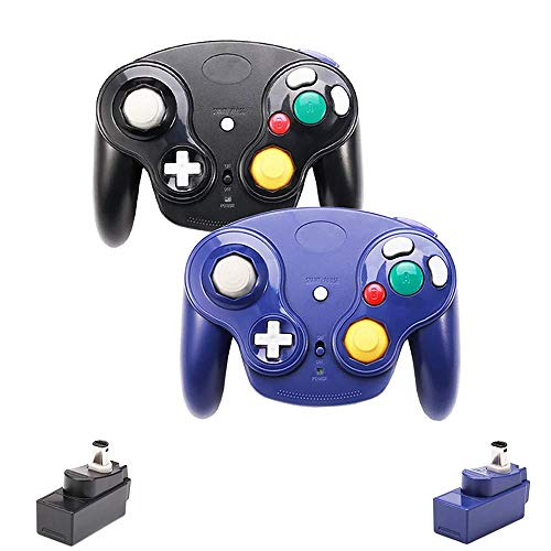 VTone Wireless Gamecube Controller, 2 Pieces 2.4G Wireless Classic Gamepad with Receiver Adapter for...