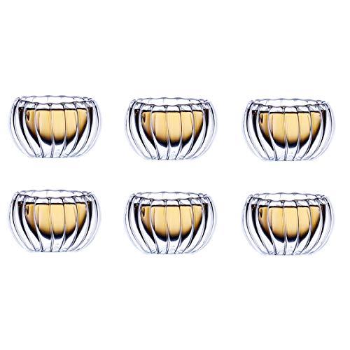 Zodensot 6pcs doble pared de vidrio mini calabaza raya tiro vidrio Bodum diseño anti-caliente té taza barato nmd licor vino copas